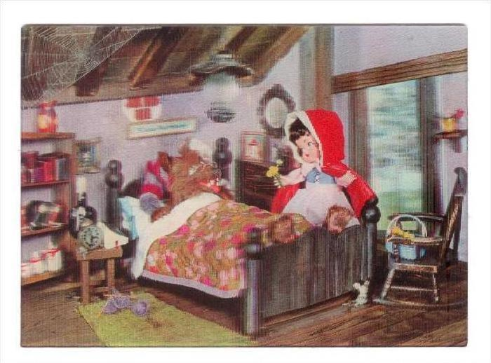 3D postcard, Little Red Riding Hood & Grandma  WOLF , 1966