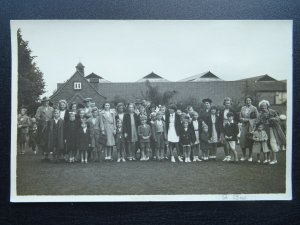 Middlesex HARROW WEALD 1 Group Portrait Taken Near BUS GARAGE c1950s RP Postcard