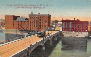 Waterloo Iowa~4th St Bridge Showing YMCA Syndicate Building~1910 PC