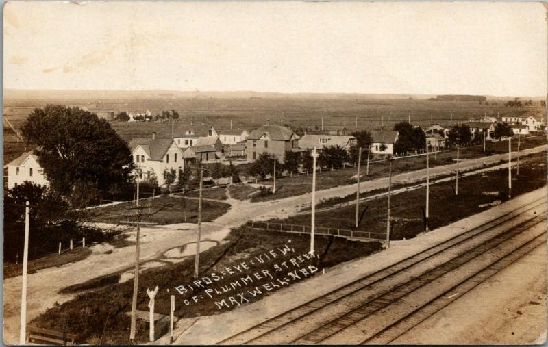 Maxwell Nebraska~Plummer Street Across Railroad Tracks~Homes~Farm~1913 RPPC