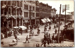 1908 CHEYENNE FRONTIER DAYS RODEO Wyoming Postcard Parade of the Shoshones