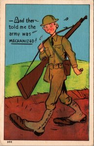 Army Mechanized -Soldier exaggeration large feet gun SOLDIER FREE MAIL WWII 1943