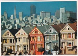 California San Francisco Skyline and Quaint Victorian Homes