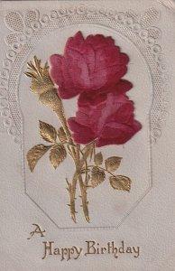 Happy Birthday Velvet Rose Metallic to Centerville KS Postcard B34