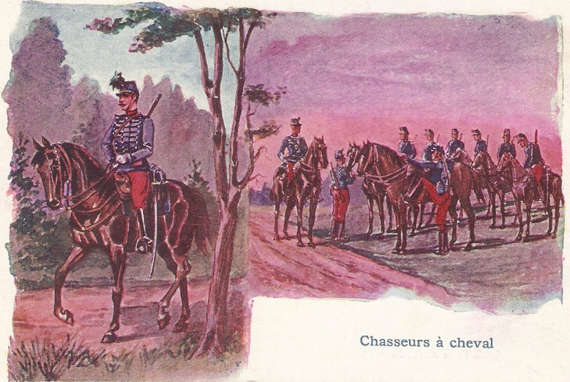 Chasseurs a cheval Old vintage French postcard