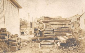 Wood Cutting Real Photo People Working Writing on back