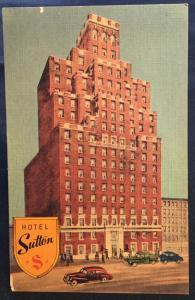 Linen Postcard Unused Hotel Sutton NYC NY LB