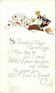 1930 - Postcard St. Valentines Days Greetings - Woman Watering Art Deco NOUVEAU