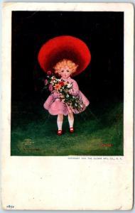 Vintage Artist-Signed WALL Postcard Little Girl Flowers SPRING w/ 1909 Cancel