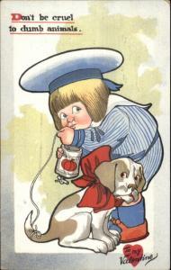 TUCK Nursery Don't be Cruel to Dumb Animals Boy  Ties Can to Dog Postcard