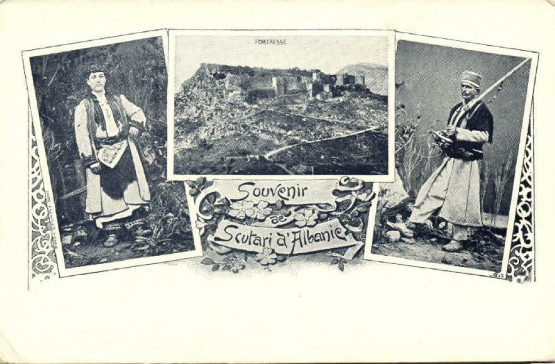albania, SHKODRA SHKODER SCUTARI, Multiview, Fortress, Costumes (1899) Postcard