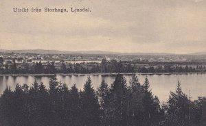 Ljusdal Utsikt Fran Storhaga Sweden Antique Postcard