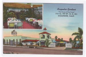 Acapulco Gardens Mexican Restaurant US 101 Oceanside California linen postcard