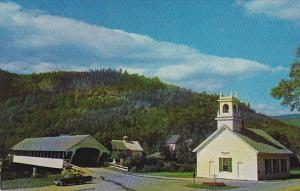 Covered Bridge and Church Stark New Hamshire