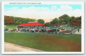 Chattanooga Tennessee~Cherokee Tourist Camp~Cars & Campers Crowd Office~1920s