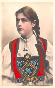 Norway Old Vintage Antique Post Card Young Girl Unused