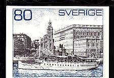 Sweden Ship Stamp,Slania Postcard