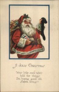 Christmas - Jolly Fat Santa Claus w/ Black Stocking Series 1961 c1915 Postcard