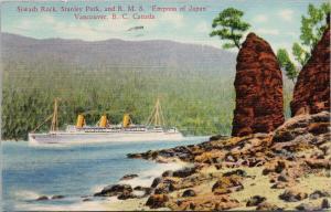 Siwash Rock Stanley Park Empress of Japan Vancouver BC c1938 Postcard F10