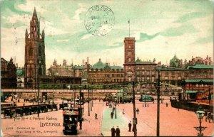 Vtg Cartolina 1905 Liverpool Inghilterra UK Pier Testa & Overhead Rwy Lang Serie