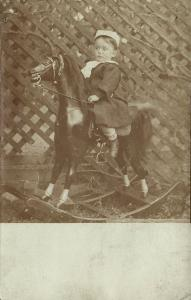 Young German Boy on Rocking Horse (1906) RPPC Toys Postcard