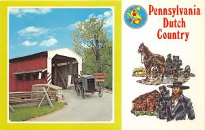 Lancaster County Pennsylvania~Amish Horse & Buggy @ Covered Bridge~Penna Dutch