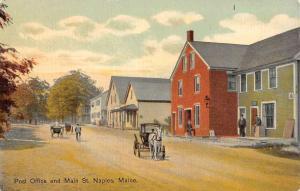 Naples Maine Post Office Main Street Scene Antique Postcard K94010