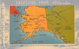 1940s Map attractions Tourist Map Alaska Yukon Territory linen Johnston 6364