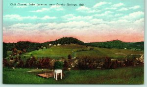 Eureka Springs Arkansas~Lake Lucerne Golf Course Panorama~Golfers on Green~Linen