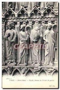 Postcard Old Paris Notre Dame Facade Statues of the left Portal