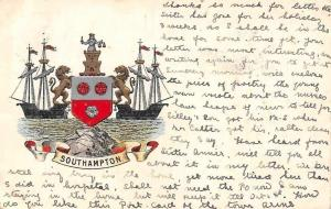 Embossed England Hampshire Southampton Coat of Arms, Ships at Sea, Postcard 1904