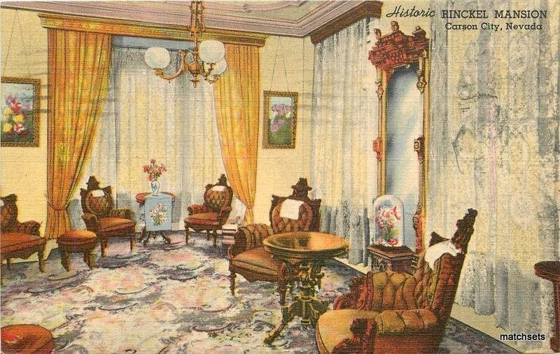 1940s Carson City Nevada Interior Rinckel Mansion linen Teich postcard 3787