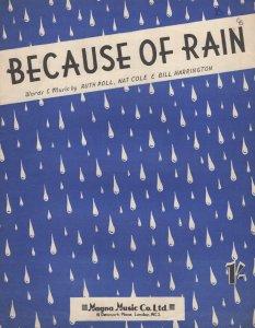 Because Of Rain Nat King Cole 1950s Sheet Music