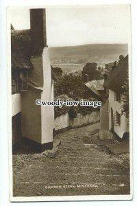 tq1137 - View down the Steep Church Steps & Cottages, in Minehead  - postcard