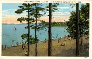 VT - Burlington. Municipal Bathing Beach on Lake Champlain