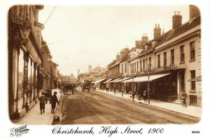 Vintage 1900 Reproduction Postcard, Christchurch High Street, Dorset, 43U