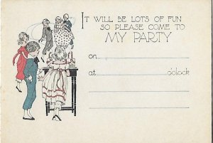Adorable Invitation to a Child's Birthday Party Great Graphics Unused