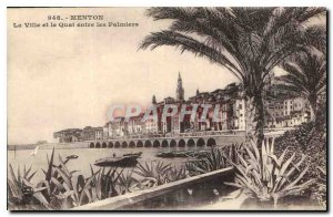 Old Postcard Menton City and Pier between Palms