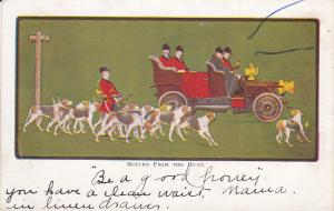 Pack of American Fox Hound Dogs, Return form the Hunt, PU-1909