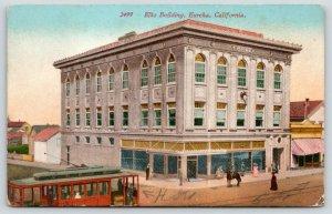 Eureka California~Elks Building~Trolley in Front~Man on Horseback~c1910