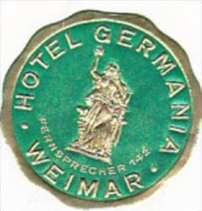 GERMANY WEIMAR HOTEL GERMANIA VINTAGE LUGGAGE LABEL