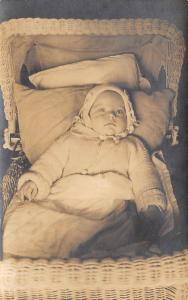 Real Photo Postcard~Baby Snuggled in Wicker Baby Buggy~Close Up~c1910 RPPC