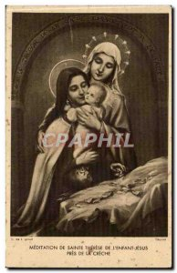 Ste Therese of Jesus & # 39enfant near the Nativity - Virgin Mary - Old Postcard