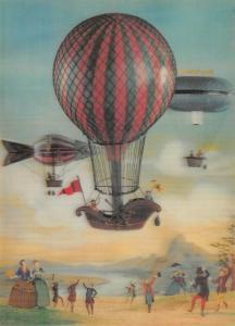 RARE Vintage 3D Art Postcard, Balloon Ascent by J. Arthur Dixon 97U