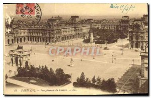 Postcard Old Paris I. General view of the Louvre
