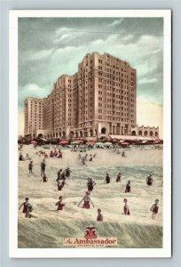 Atlantic City NJ- New Jersey, The Ambassador, Hotel, Beach, Chrome Postcard