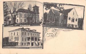 Algona Iowa~Courthouse~Hospital~Public Library~1908 Art Nouveau~B&W Albertype PC