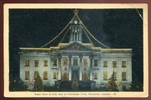 h2527 - KITCHENER Ontario Postcard 1930s City Hall at Christmas
