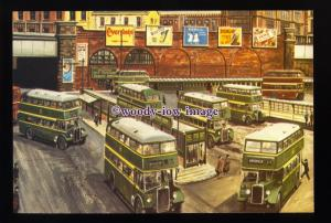 tm6635 - Buses leave Salford City Bus Station - Artist - G.S.Cooper - postcard