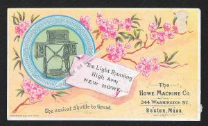 VICTORIAN TRADE CARD Howe Sewing Co Machine & Flowers 'The Light Running...'